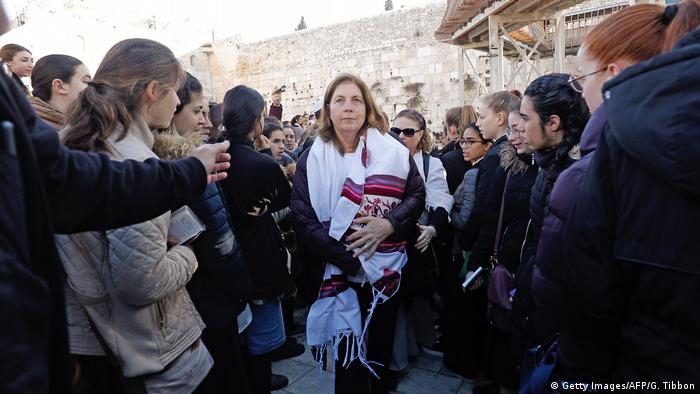 A member of the Women of the Wall movement leaves the area at the Western Wall in Jerusalem