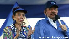 05.09.2018 FILE - In this Sept. 5, 2018 file photo, Nicaragua's President Daniel Ortega and his wife, Vice President Rosario Murillo, lead a rally in Managua, Nicaragua. Despite the new Feb. 1, 2019 tax rises, Nicaragua has not seen a repeat of last year's mass protests. And it seems unlikely to, since Ortega forcefully quashed the challenge to his power, including effectively outlawing opposition demonstrations since September. (AP Photo/Alfredo Zuniga, File) |