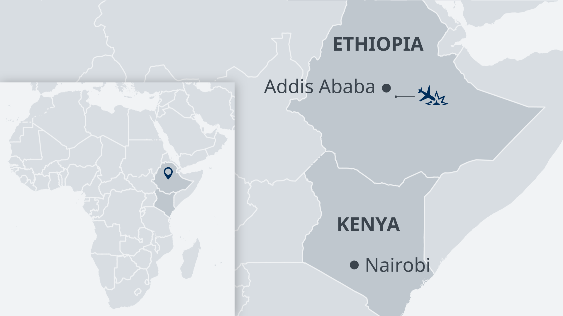 Map showing Addis Ababa, Nairobi and the location of the crash