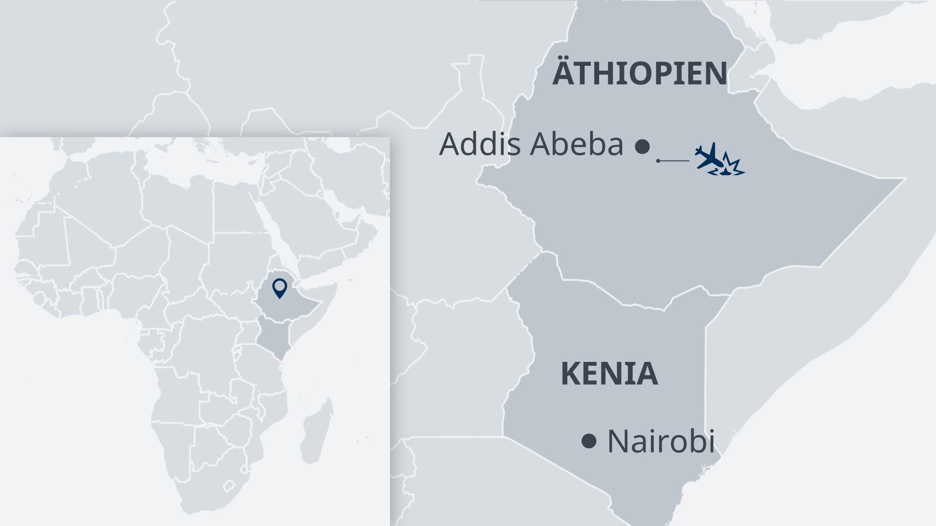Infografik Karte Flugzeugabsturz Äthiopien DE