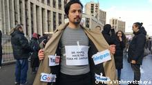 2019 Moskau Aktivisten auf der Demonstration für freies Internet und gegen Zensur in Russland.