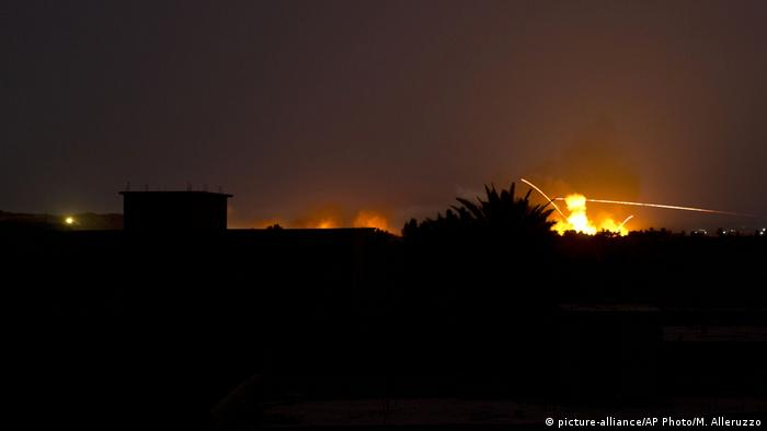 Tracer fire and explosions over Baghouz