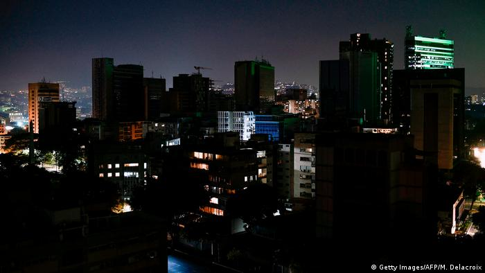 Caracas, Venezuela's capital, was still in the dark on Sunday because of a massive power outage. (Getty Images/AFP/M. Delacroix)