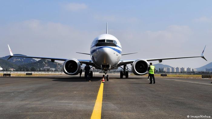 Boeing 737 MAX no aeroporto de Zhoushan, na China