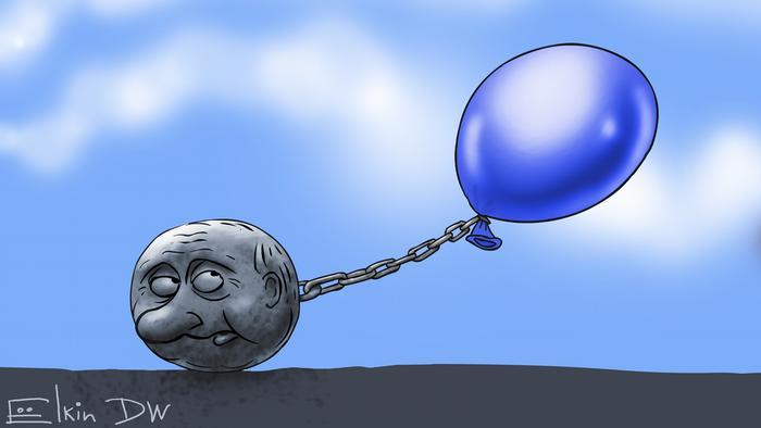 Ядро с лицом Путина тянет вниз привязанный к нему голубой воздушный шарик