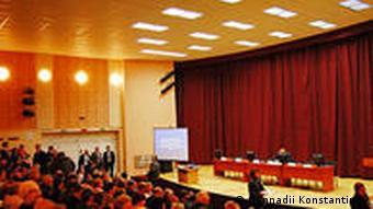 Зал Островецкого дома культуры, где прошли общественные слушания по строительству АЭС в Беларуси