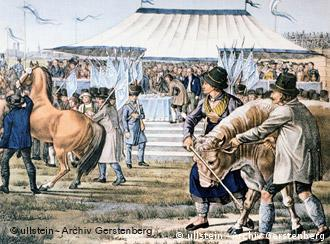 Horses and crowds through around a tent in this lithograph depiction of the first Oktoberfest