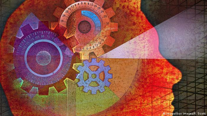 Artistic painting: Beam out Gears in Head a Man