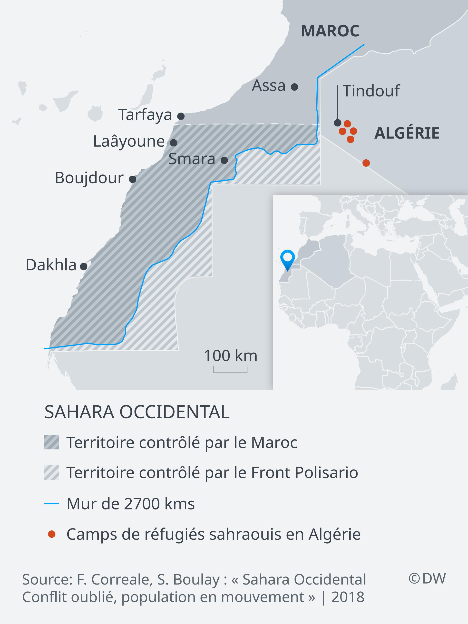 Carte du Sahara occidental