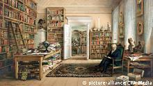 Alexander von Humboldt (1769-1859) in seiner Bibliothek, Chromolithographie von Eduard Hildebrant