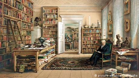 Alexander von Humboldt in his library in Berlin