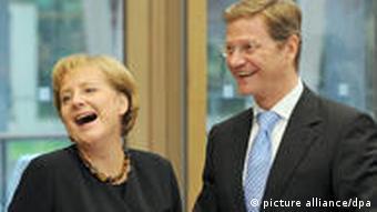 Koalitionsverhandlungen: Angela Merkel und Guido Westerwelle