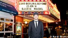 Berlin and Beyond Film Festival with Bjarne Mädel in front of theater (Barak Shrama)