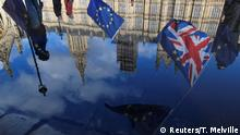 UK Brexit l Spiegelung des Houses of Parliament l Anti-Brexit Demonstration