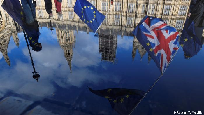 UK Brexit l Spiegelung des Houses of Parliament l Anti-Brexit Demonstration