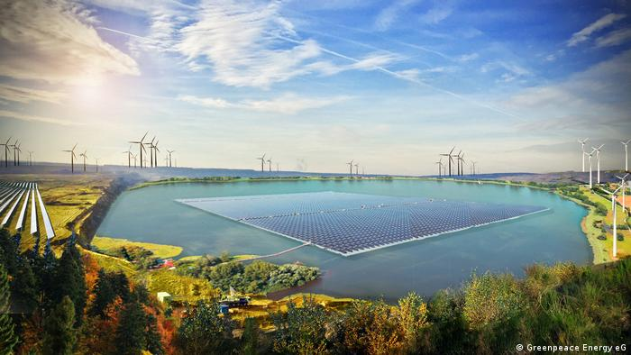 An illustration of a proposed renewable energy lake (Greenpeace Energy eG)