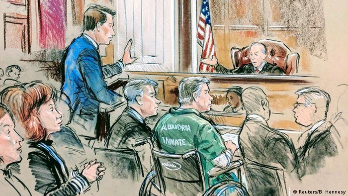 USA | Gerichtsskizze | Paul Manafort erscheint vor dem US-Bezirksgericht in Alexandria (Reuters/B. Hennesy)