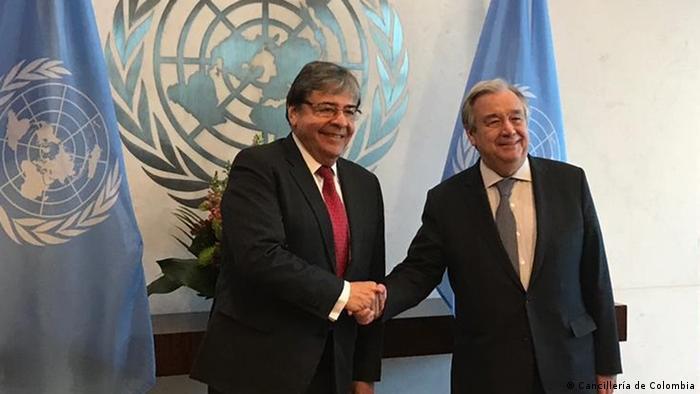 USA   Treffen   Carlos Holmes Trujillo (Außenminister Kolumbiens) und Antonio Guterres (Cancillería de Colombia)