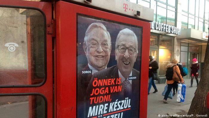 Ungaria, Budapesta: afiș electoral anti-UE și anti-Soros (picture-alliance/dpa/P. Gorondi)