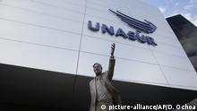 The statue of former Argentinian President Nestor Kirchner stands at the entrance to the Union of South American Nations, UNASUR, building, near Quito, Ecuador, Dec. 19, 2018. The spectacular new building meant to be a symbol of South American unity is instead increasingly empty. The headquarters of UNASUR is suffering from the woes of a group whose leftist backers have largely turned over power to conservative leaders unenthused about bonding together to challenge Washington. (AP Photo/Dolores Ochoa) |