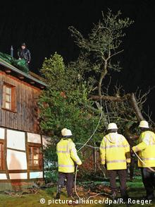 Firefighters prepare to haul away a fallen tree from a roof