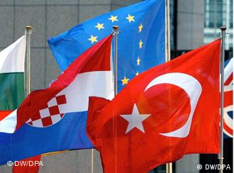 Turkish flag and EU flag