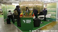 People stand at the stand of Great Green Wall (GGW), during the opening day of the United Nations conference on climate change COP21, on November 30, 2015 at Le Bourget, on the outskirts of the French capital Paris. More than 150 world leaders are meeting under heightened security, for the 21st Session of the Conference of the Parties to the United Nations Framework Convention on Climate Change (COP21/CMP11), also known as Paris 2015 from November 30 to December 11. AFP PHOTO / THOMAS SAMSON / AFP / THOMAS SAMSON (Photo credit should read THOMAS SAMSON/AFP/Getty Images)