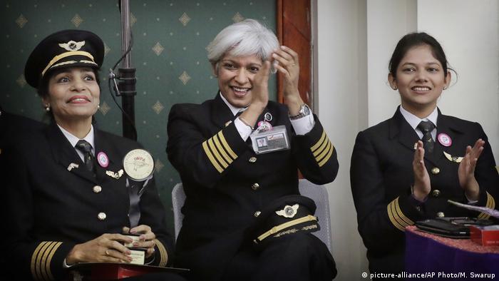 Air India pilot Kshamta Bajpai (C) led an all-women crew flight all around the world in 2017