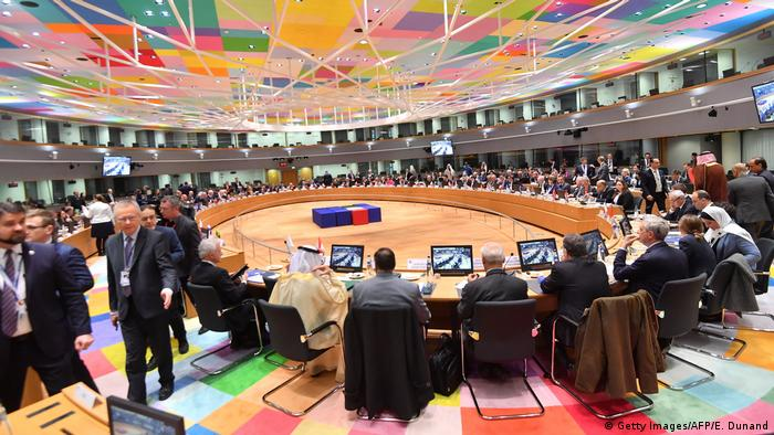 Officials attend the third Brussels conference on supporting future of Syria and the region at the European Council in Brussels on March 14, 2019