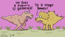 Karikatur - zwei Dinosaurier weigern sich Impfungen zu machen