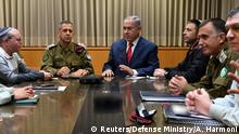 Israel Benjamin Netanyahu hält Sicherheitsberatung in Tel Aviv