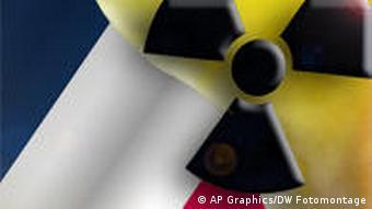 Symbolbild Frankreich Flagge mit Atom Symbol (Foto: AP Graphics/DW Fotomontage)