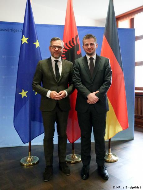 Treffen Michael Roth Gent Cakaj Deutschland EU Albanien (MPJ e Shqipërisë)
