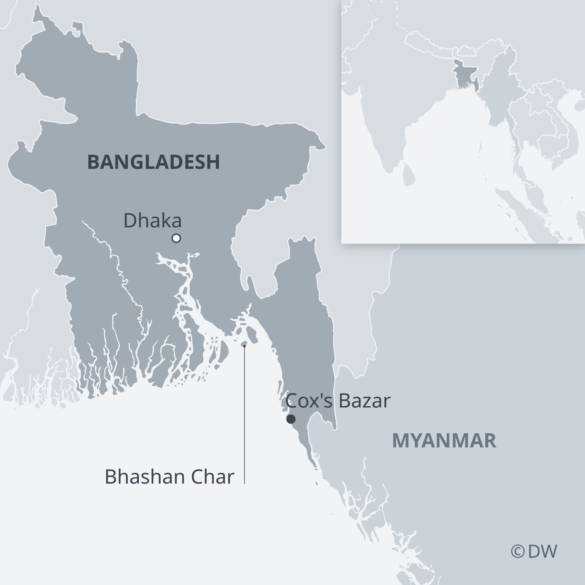 Map of Bhasan Char's location