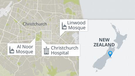 Karte Christchurch Terroranschläge EN