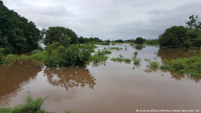Photo of corn fields covered in water in Malawi following Cyclone Idai