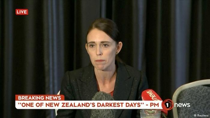 TV Screenshot - Neuseelands Premierministerin - Jacinda Ardern spricht nach Attentat (Reuters)