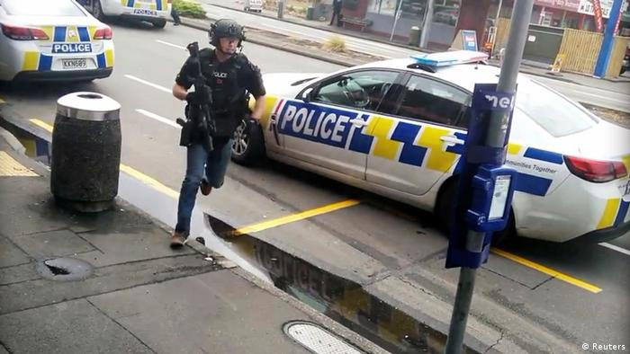A police officer responds following shooting at Linwood in Christchurch, New Zealand, March 15, 2019, in this still image obtained from a social media video.