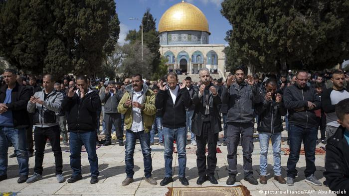 Palestinians perform funeral prayer in absentia for those who lost their lives during twin terror attacks in New Zealand mosques after performing Friday prayer at Masjid al-Aqsa in Jerusalem on March 15, 2019.