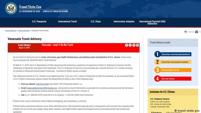 Advertencias oficiales del Gobierno de Estados Unidos en caso de viajes a Venezuela
