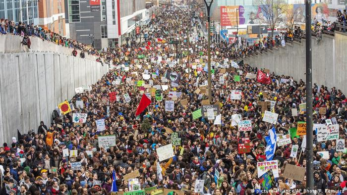 Students hold a demonstration to protest against climate change in Montreal