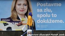 Slowakei Zuzana Caputova Präsidentschaftskandidaten Wahlplakat