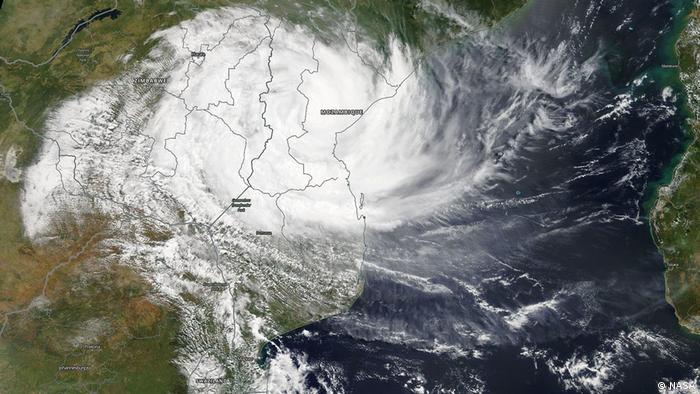A NASA satellite photo shows the storm hitting central Mozambique and eastern Zimbabwe.
