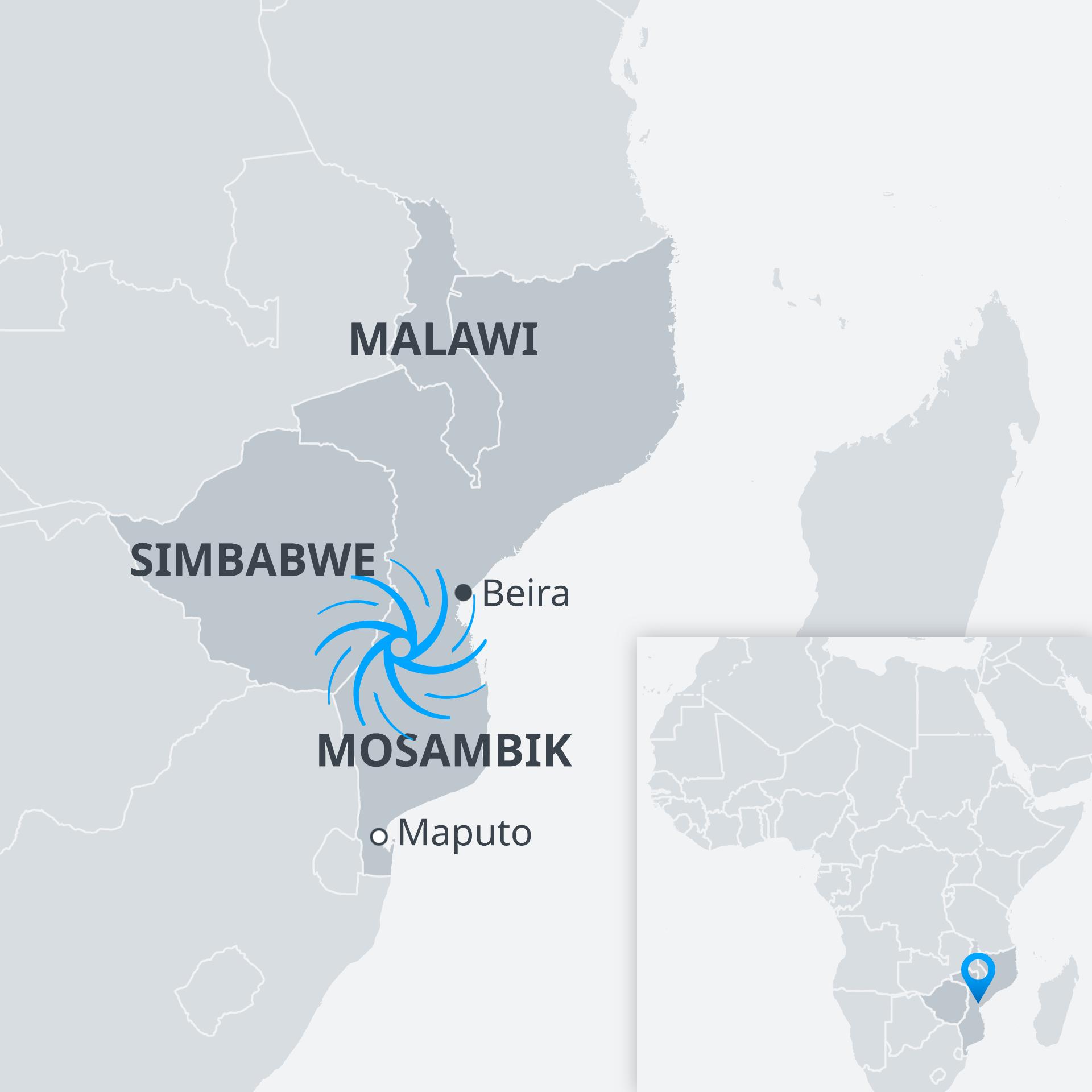 Karte Zyklon Idai Mosambik DE