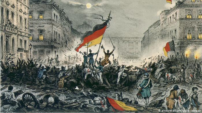 Kreidelithographie Revolution 1848 in Berlin