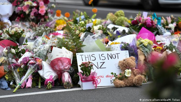 Flowers left near the Al Noor Mosque in Christchurch