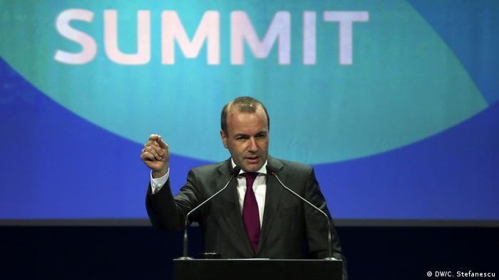 Manfred Weber Spitzenkandidat Europäische Volkspartei Besuch in Bukarest (DW/C. Stefanescu)