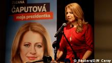 16.03.2019 *** Slovakia's presidential candidate Zuzana Caputova speaks after the first unofficial results at a party election headquarters in Bratislava, Slovakia, March 16, 2019. REUTERS/David W Cerny