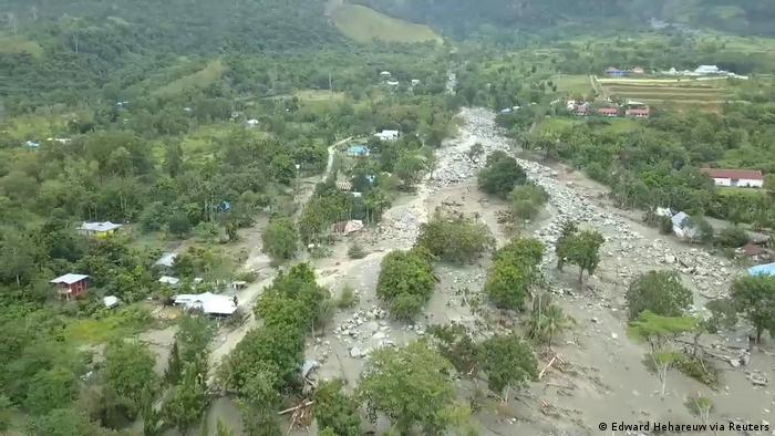A bird's-eye view shows the extent of destruction in Sentani, near Papua's capital, Jayapura