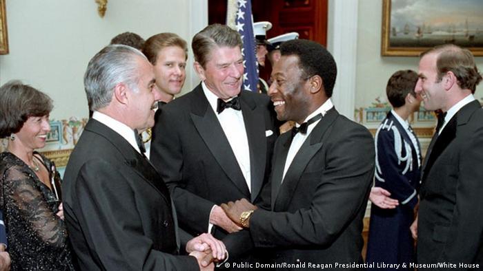 Ronald Reagan, Jose Sarney e Pelé em 1986